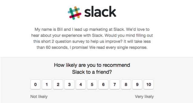 How to improve user onboarding in your SaaS product - Slack NPS example